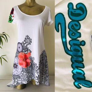DESIGUAL Floral Asymetrical Hem DRESS M / L
